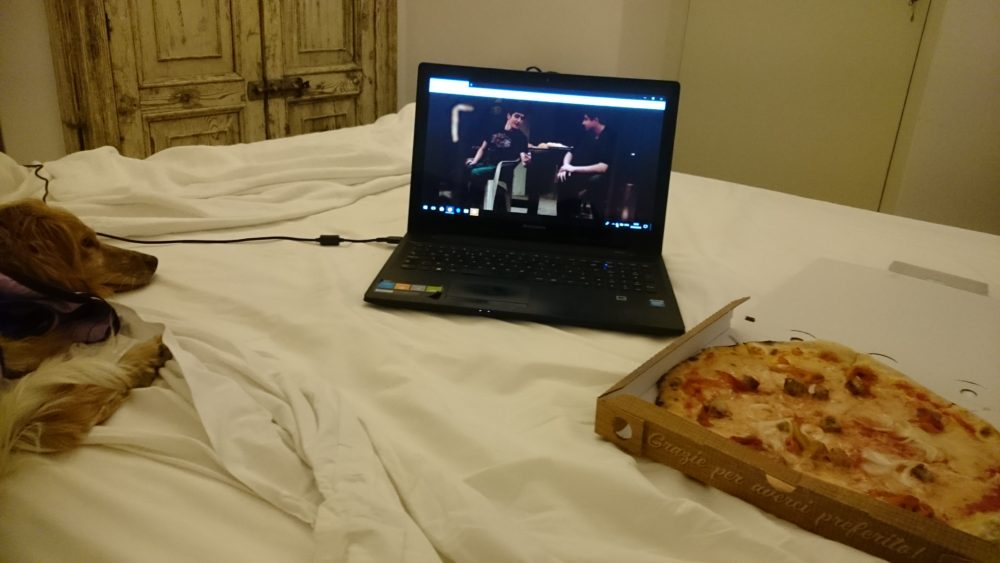 Image of Enjoying pizza, netflix and Annie cuddles in Sicily